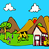 Big  garden and animals coloring