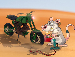Rat on a bike
